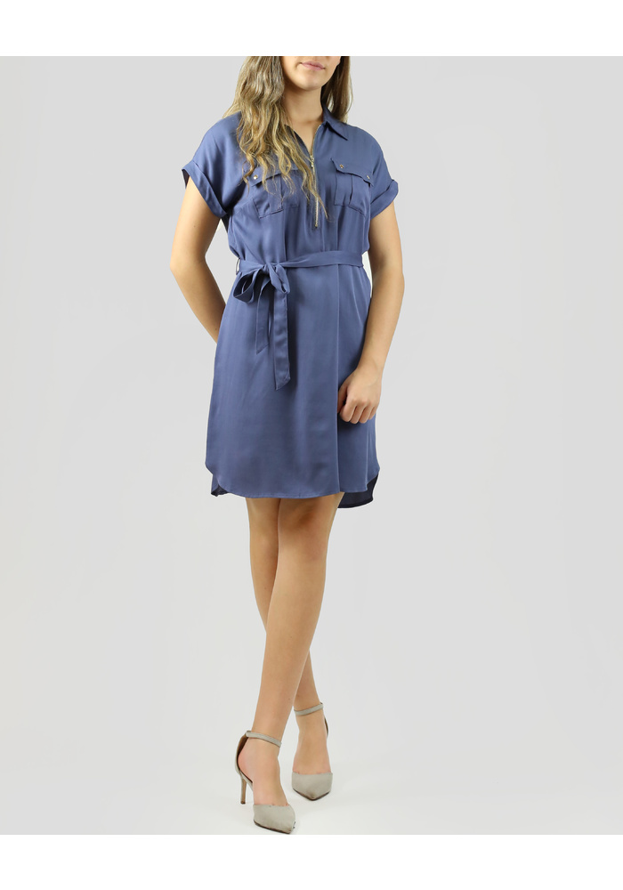 SLVLESS ZIP UP DRESS W/WAIST TIE