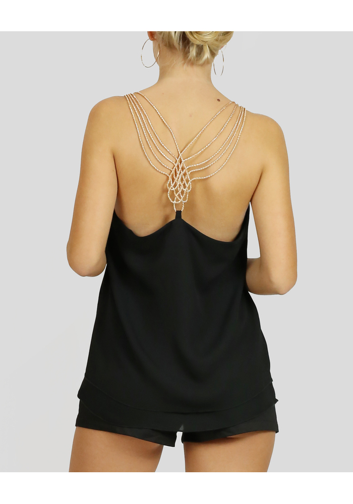 Gold Chain Bk Chiffon Top