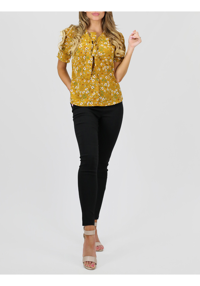 Tie Up Print Blouse