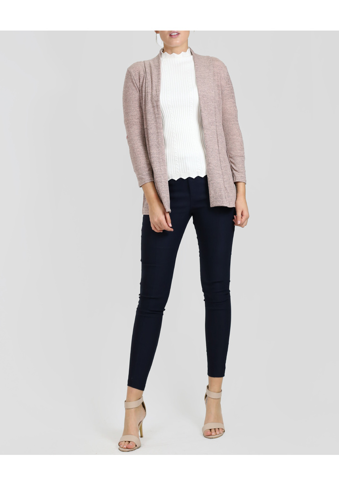 3Q ROLLED UP CUFF OPEN CARDI