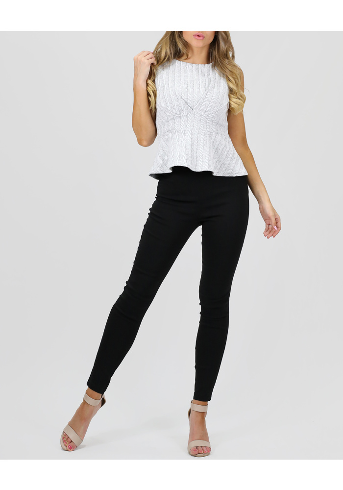 Nipped Waist Peplum Top