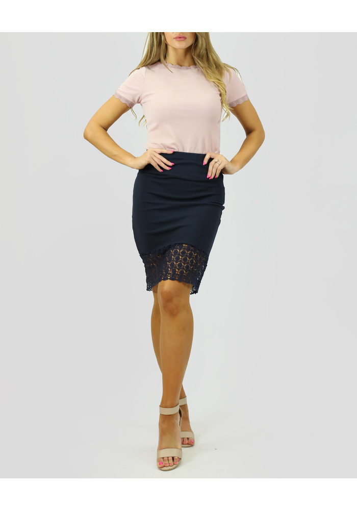 Crochet  Hem Fitted Skirt