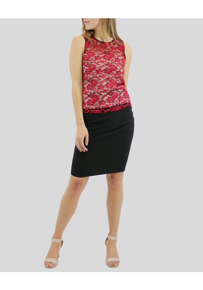 Lace Sleeveless Top [Purple] [size: 10]