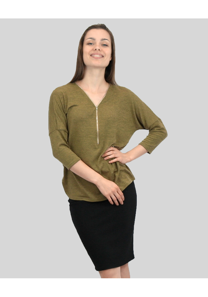 Long Sleeve Zip Front Top