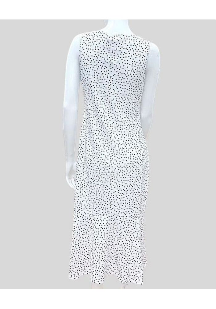 Dot Prt Frilled Midi Dress