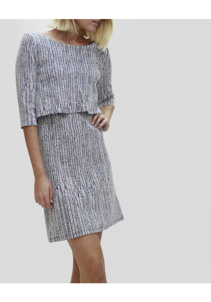 DOUBLE LAYER JACQUARD PTTN DRESS