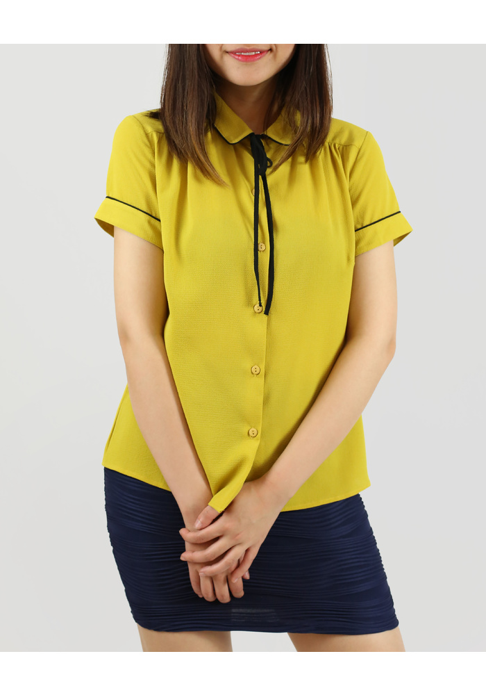 PIPING DETAIL SHIRTS  [COLOUR: MUSTARD] [SIZE: 10]