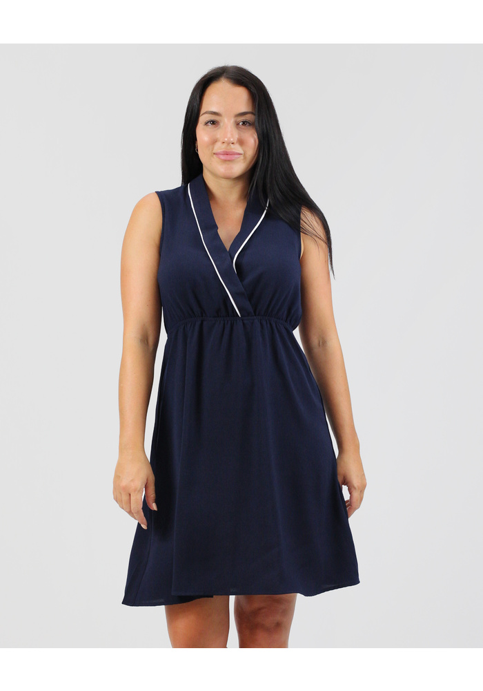 Piping Detail Sleeveless Dress