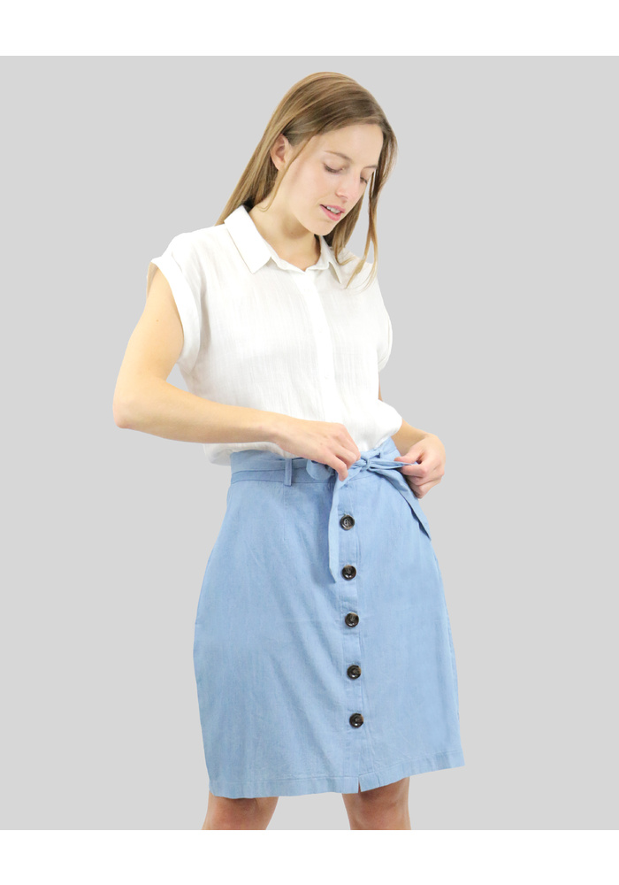 Chambray Button Down Skirt