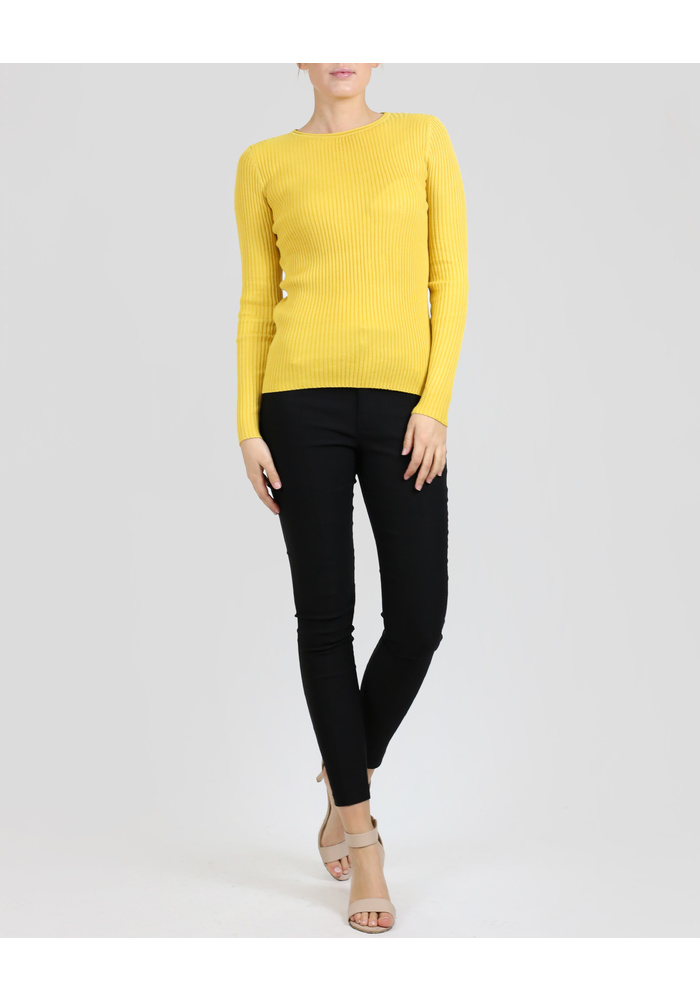 ROUND NECK RIB KNIT TOP