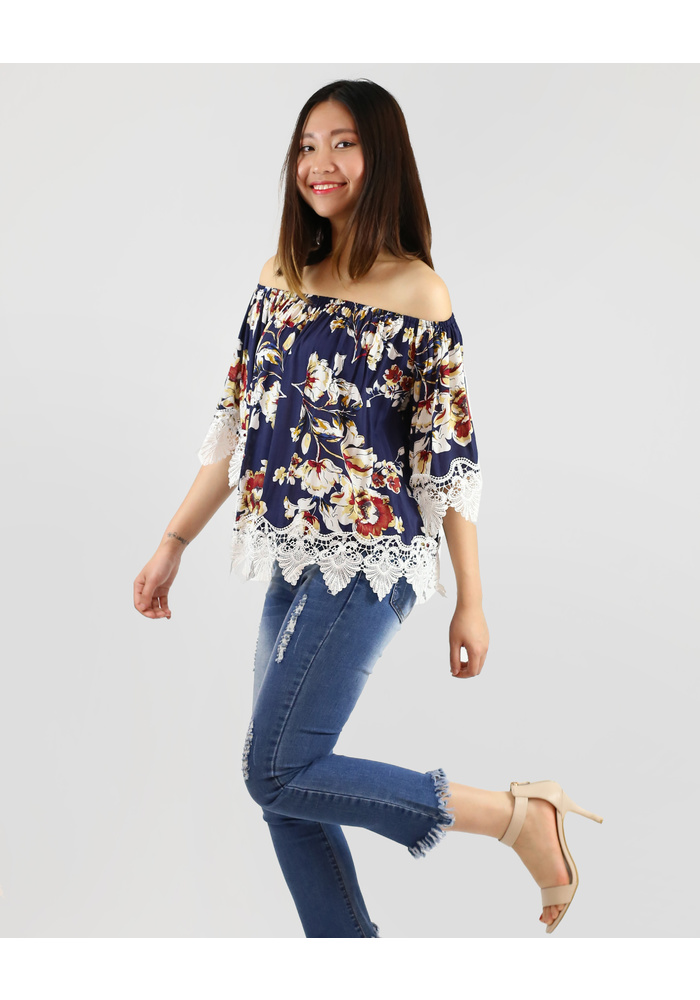 LACE TRIM OFF SHOULDER PRINT TOP