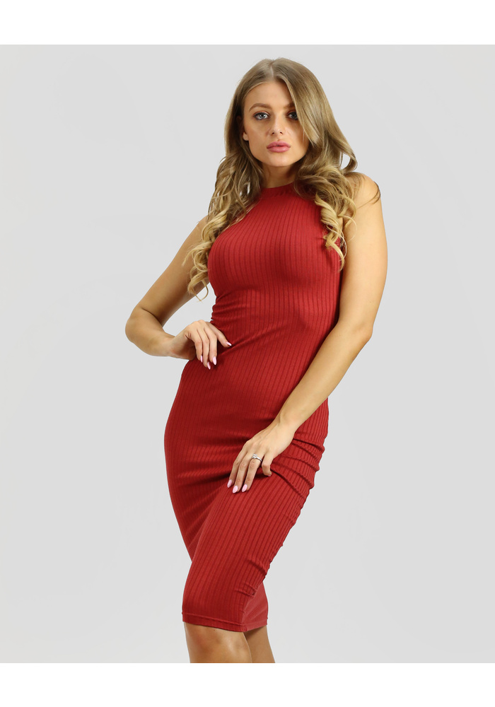 Jersey Cold Shoulder Midi Dress