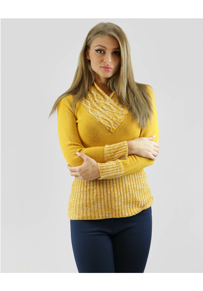 Crossover Marl Neck Knit Top