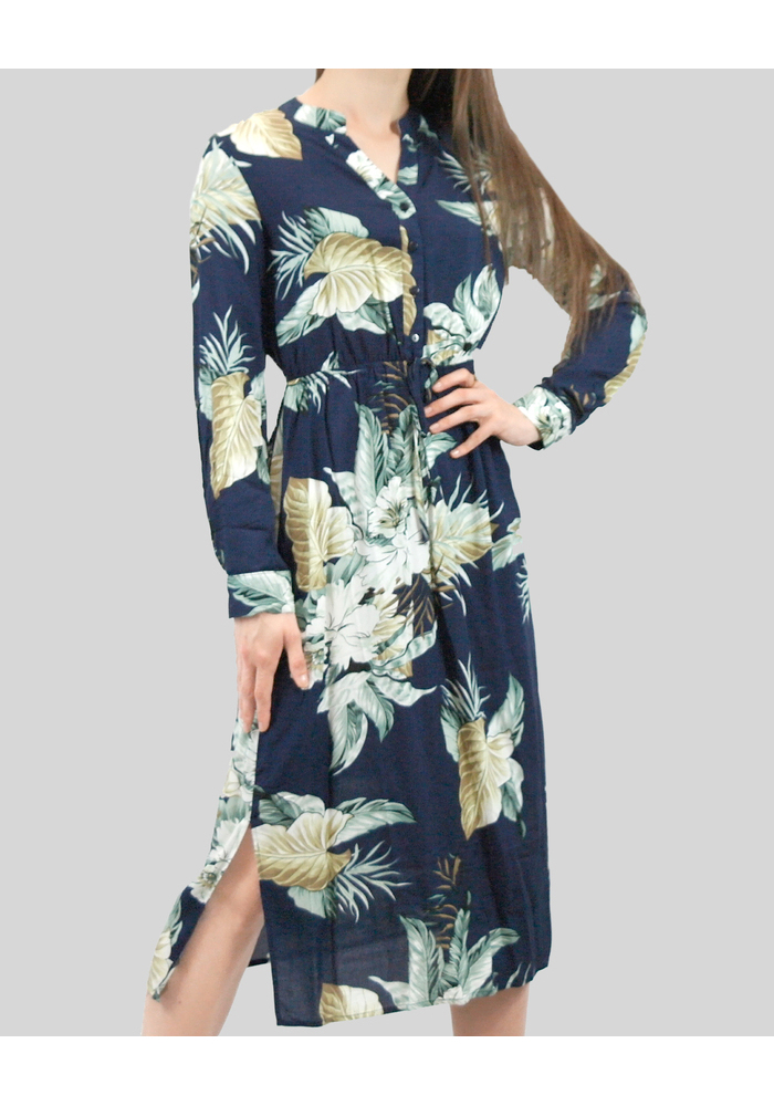 Long Sleeve Print Midi Dress [Navy] [size: 08]