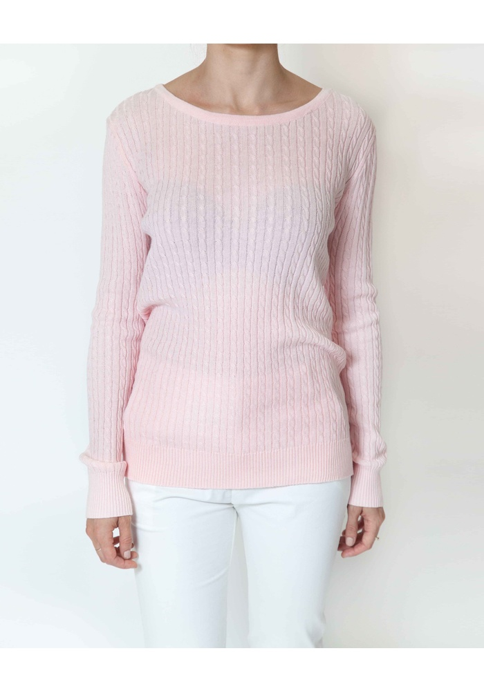 CABLE PTTN ROUND NK KNIT TOP