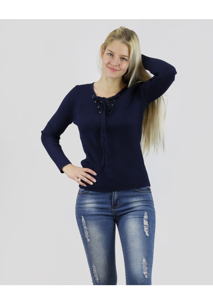 Lslv Laceup Knit Top