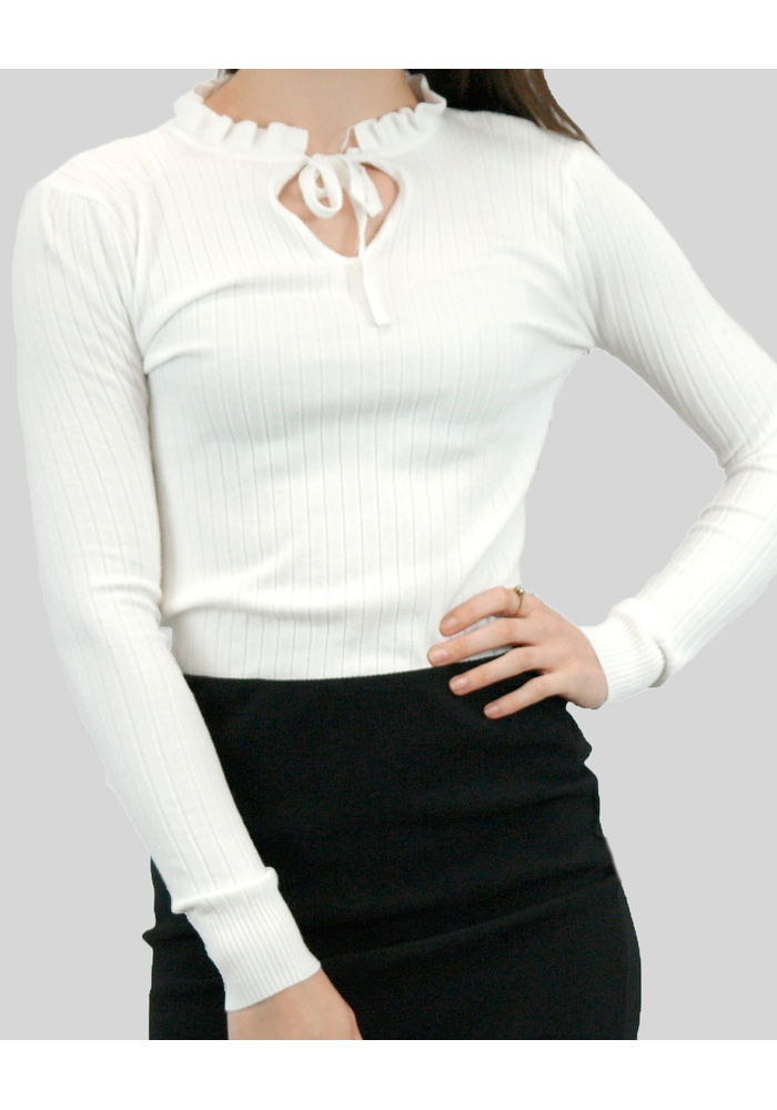 Frilled Tie Neck Knit Top