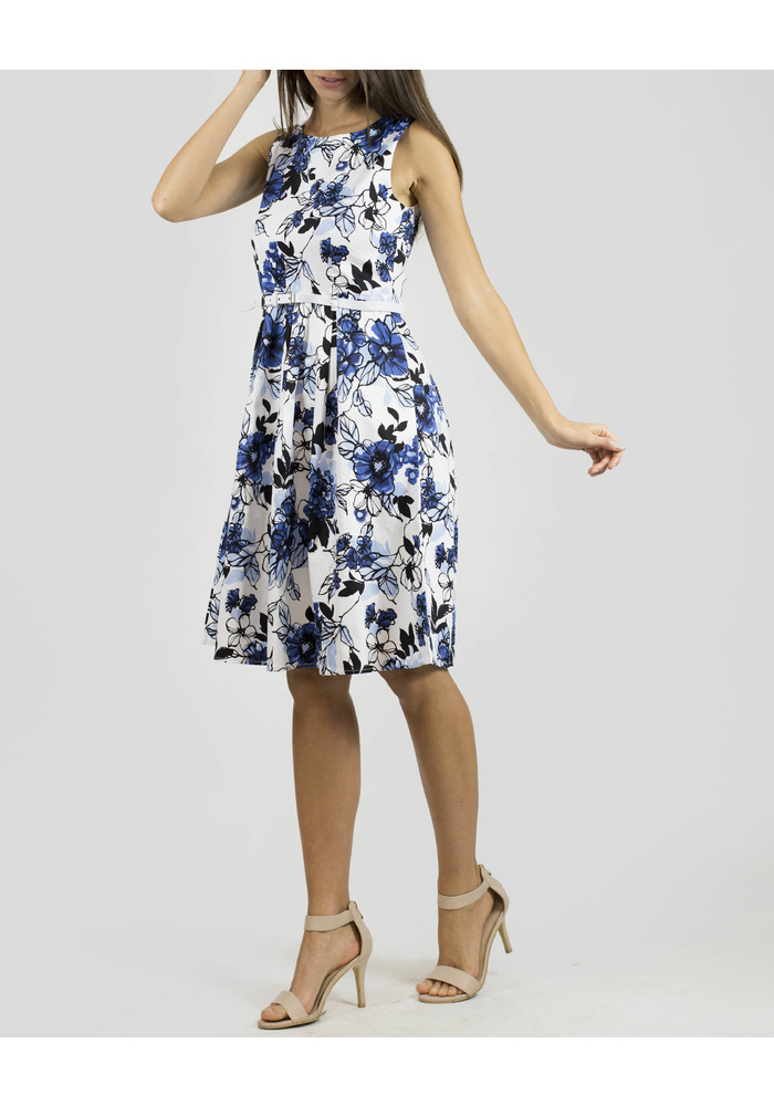 FLORAL PRINT BELTED DRESS