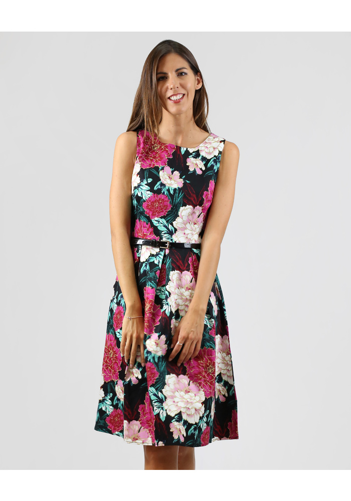 Floral Sleeveless Dress With Belt
