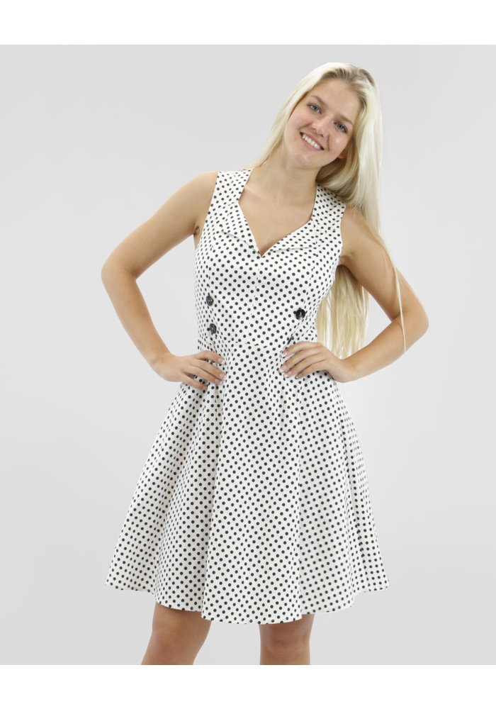 Collar Detail Polka Dot Dress