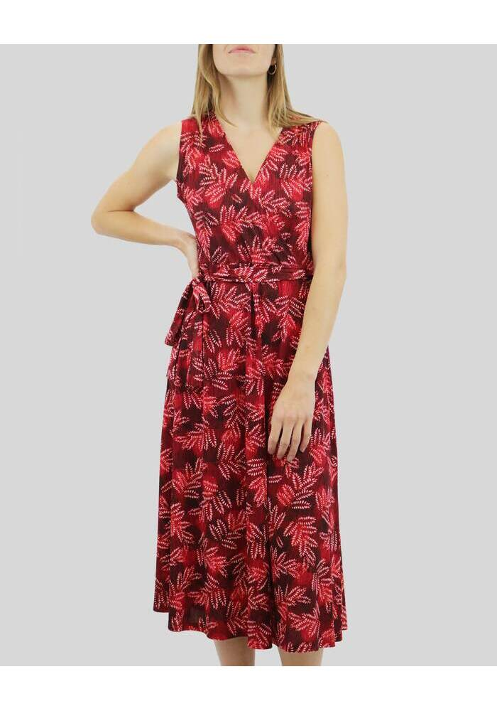 Flower Print Sleeveless Crossover Dress [Red] [size: 14]