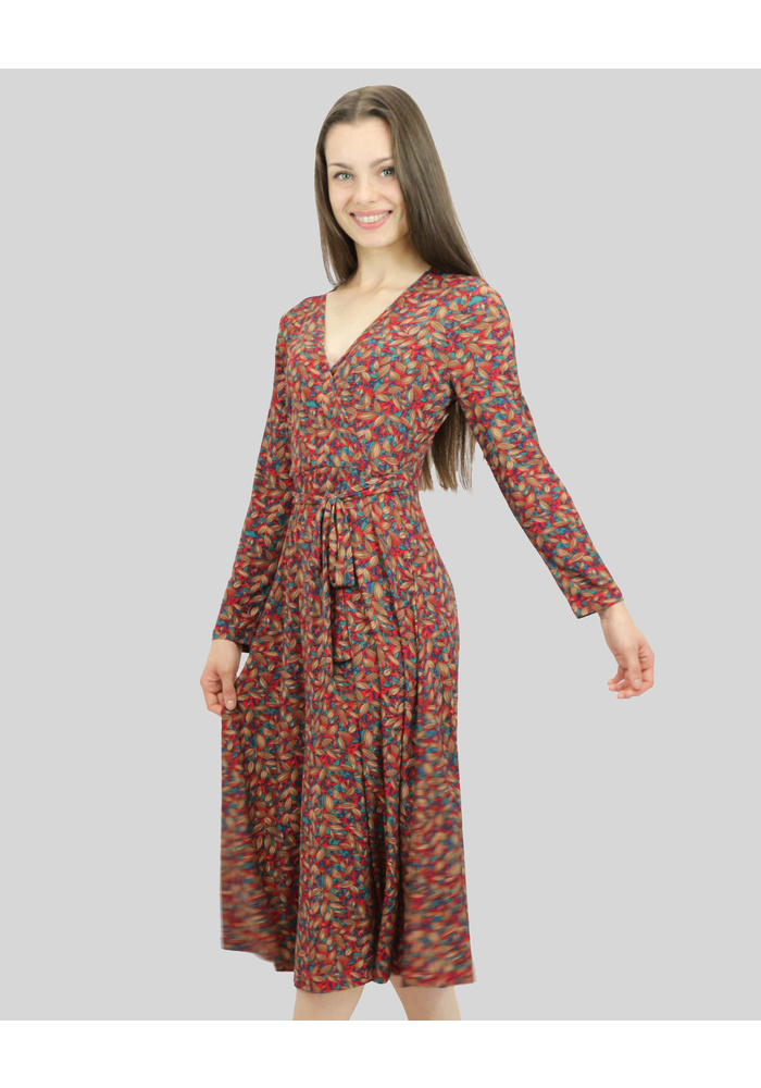 Leaf Print Long Sleeve Crossover Dress