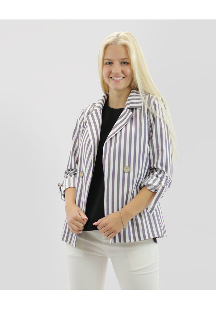Striped Tab Sleeve Blazer