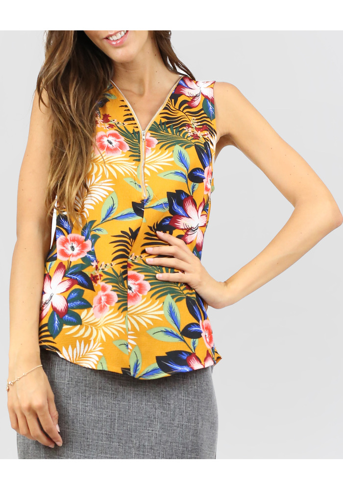 Flo Prt Zip Blouse