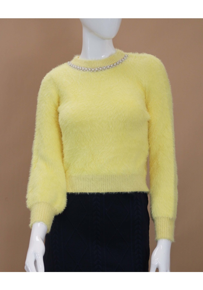 Pearl Neck Fluffy Jumper