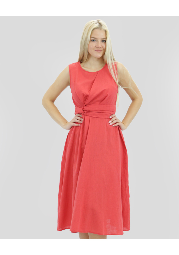 Twist Tie Waist Midi Dress