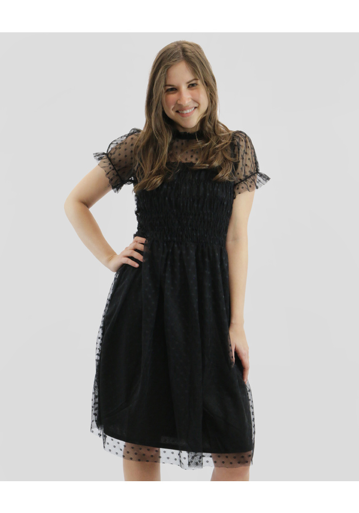 Dotted Lace Ruched Dress