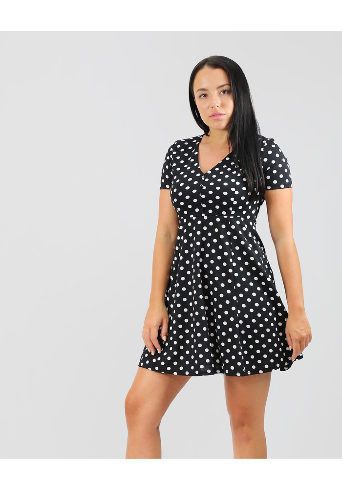 Polka Dot Print Textured Dress