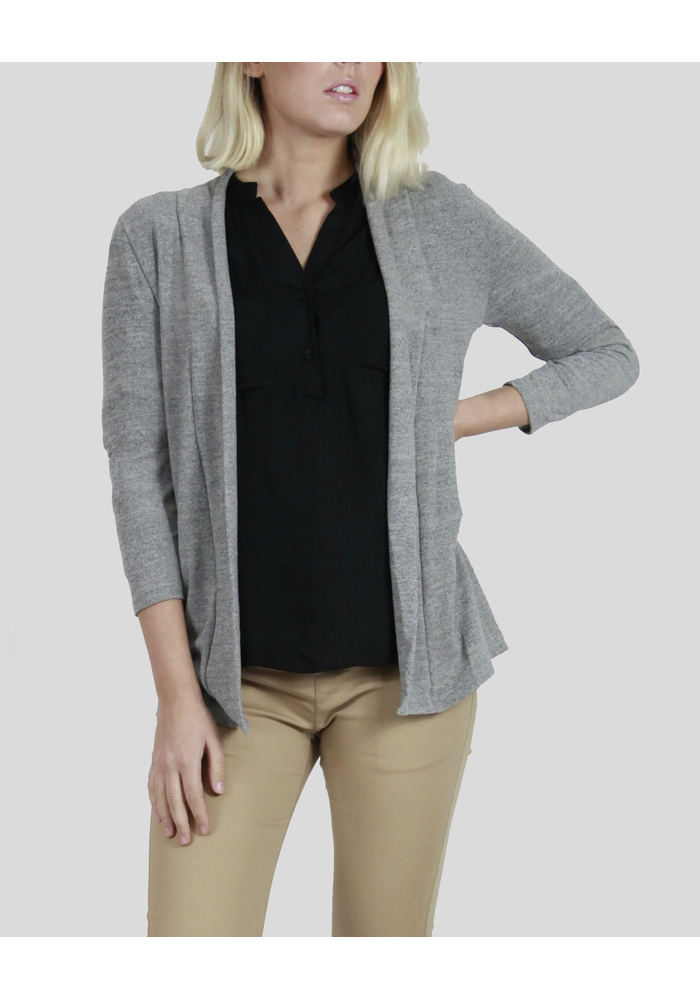 3q Rolled Up Open Cardigan