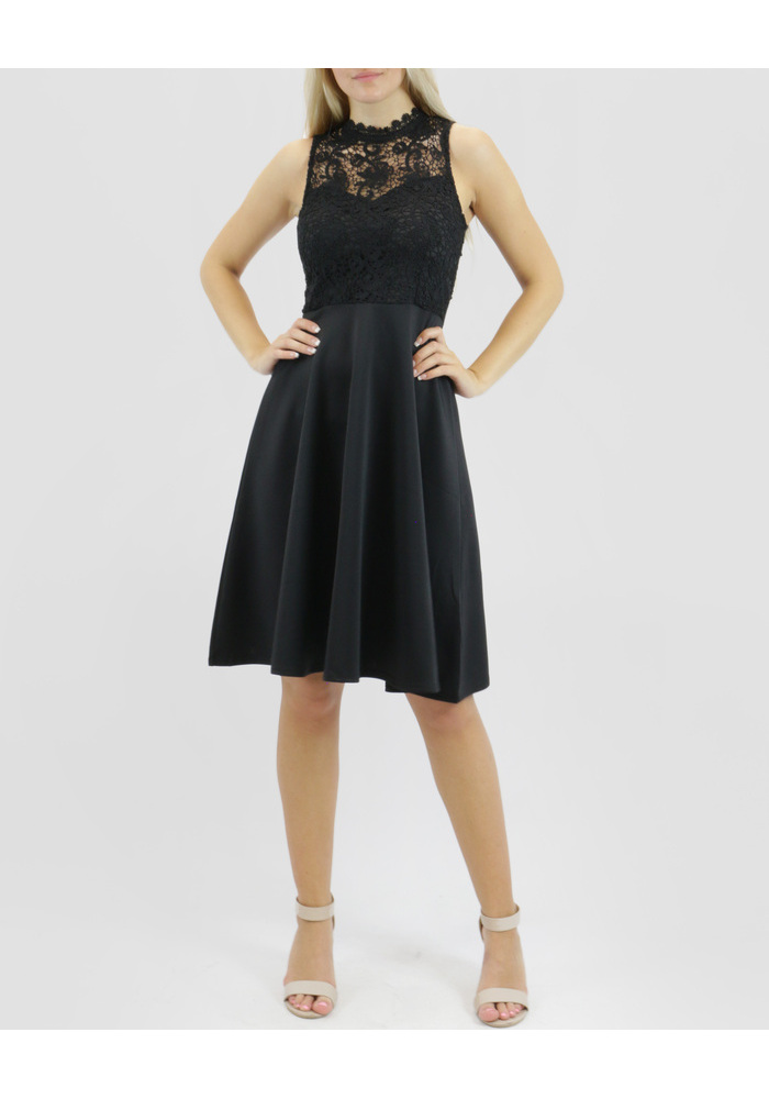 Lace Yoke Slvless Dress [colour: Black] [size: 8]