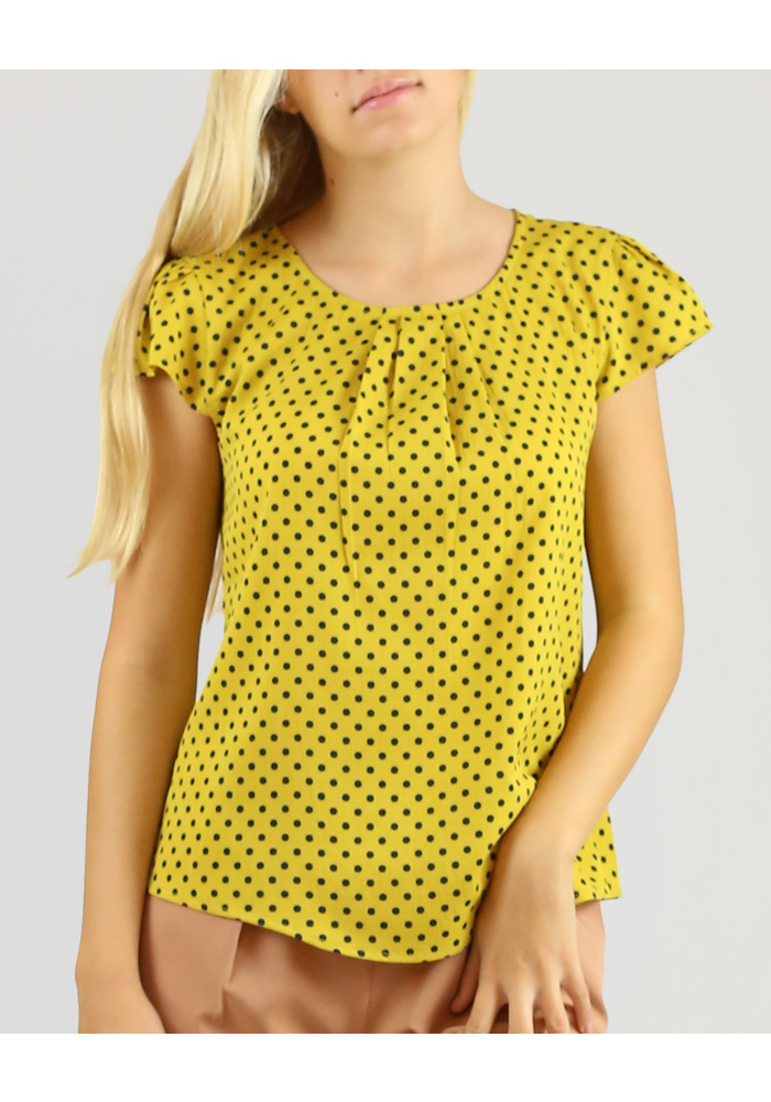 PLEATED NECK PRINT TOP [COLOUR: MUSTARD] [SIZE: 10]