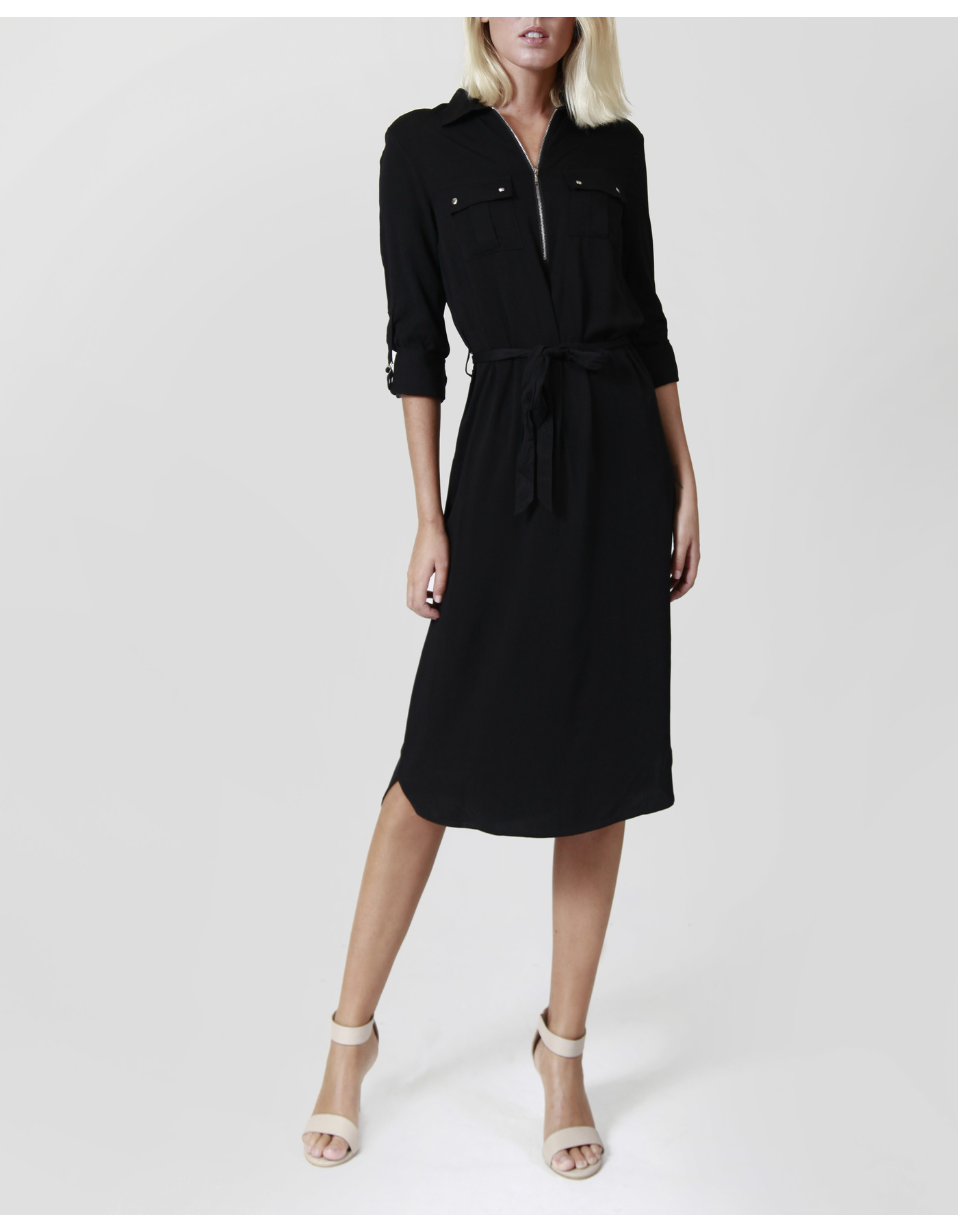 LS ZIP UP SHIRT DRESS W/WAIST TIE [COLOUR: BLACK] [SIZE: 8]