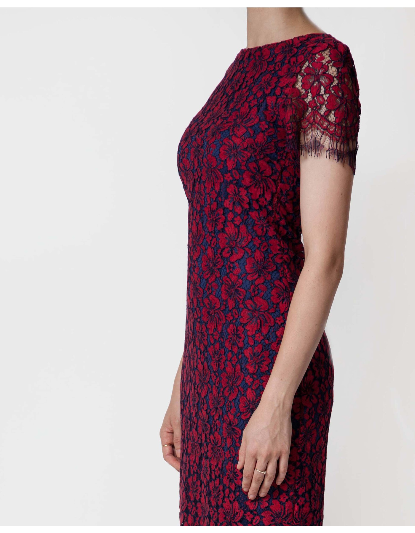 3CLR LACE SHIFT DRESS [COLOUR: RED] [SIZE: 12]