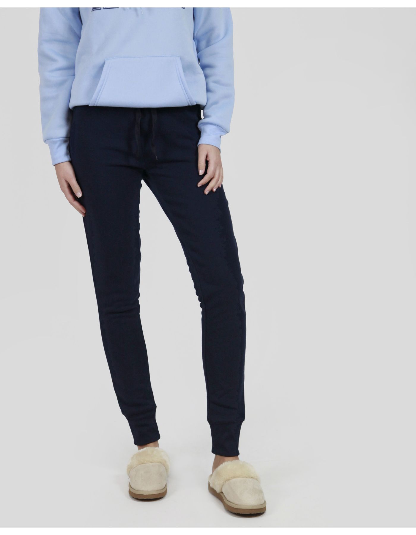 BASIC T/PANT W/CUFF COTTON BRUSHED FLEECE [COLOUR: NAVY] [SIZE: 10]