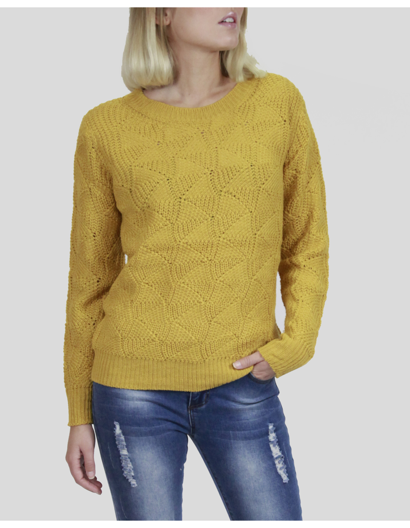 TRIANGLE PTTN KNIT TOP [COLOUR: MUSTARD] [SIZE: 8]