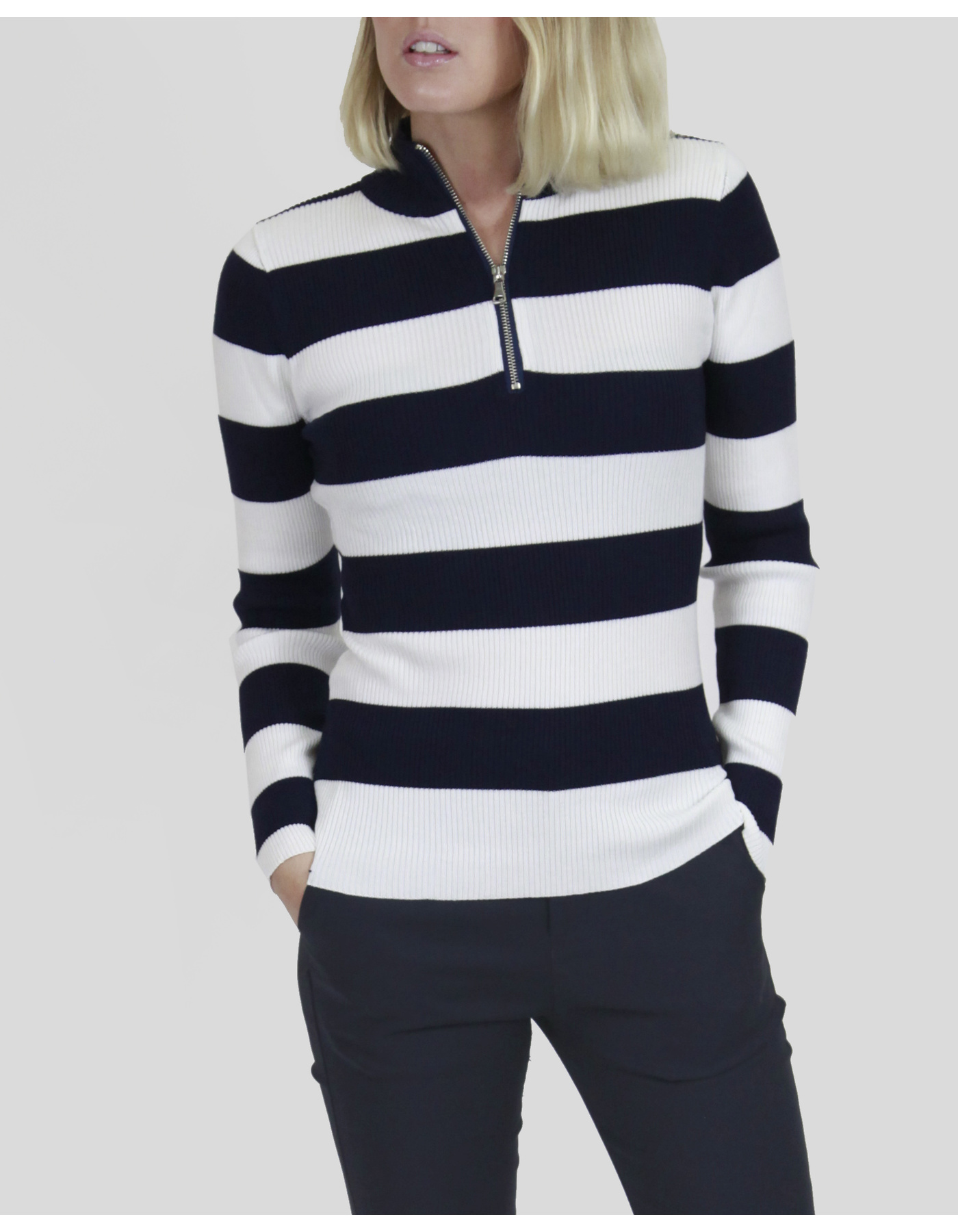 STRIPED ZIP UP LS KNIT TOP [COLOUR: NAVY] [SIZE: 8]